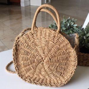 Handbags - Round Straw Beach Bag